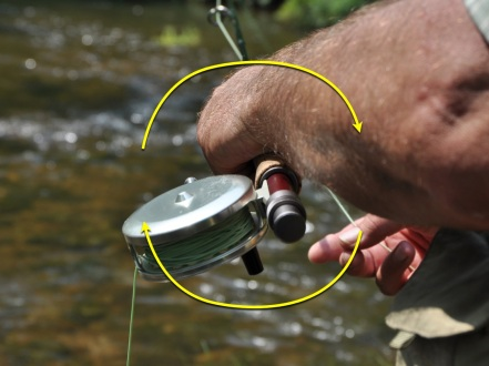 By angling the reel, line is less likley to slap the rod or tangle on a guide while shooting out. Photo Illustration by Ed  Jaworoski.