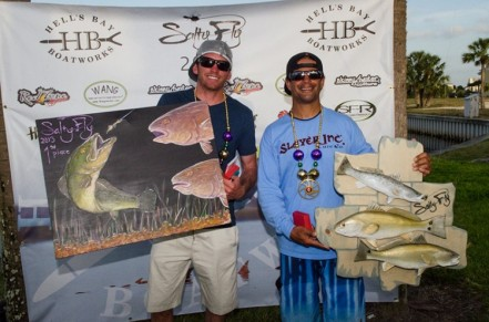 Team Slayer comprised of Chris Cenci and Cody Chivas, claimed first with a one day total of 82 and one-half-inches. Photo Courtesy of SaltyShores.com
