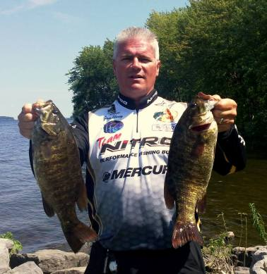 Burnie Haney with two keepers from this past weekends Oneida Lake tournament.  Photo courtesy Burnie Haney.