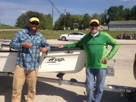 Team TFO of Blane Chocklett, (left) and Jim Shulin (right) prepping for a weekend of slinging big flies.  Photo by Jim Shulin, TFO.